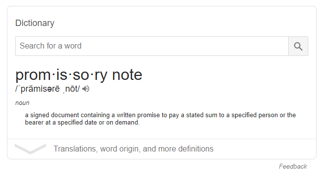 promissory note definition